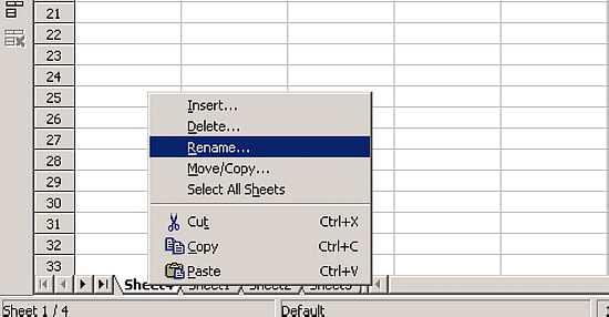 OpenOffice.org Calc Tutorial - Adding & Renaming Worksheets